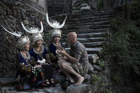 BTS, Jimmy in conversation with the Langde Ladies, Langde Shang Miao Village, Kaili, Qiandongnan, Guizhou, China, 2016