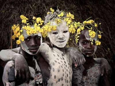 Karo children, Korcho village, Omo valley, Ethiopia, Jimmy Nelson, 2011