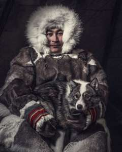 Pavel with his Herding Dog, Nenets, Yamal Peninsula, Siberia, 2018