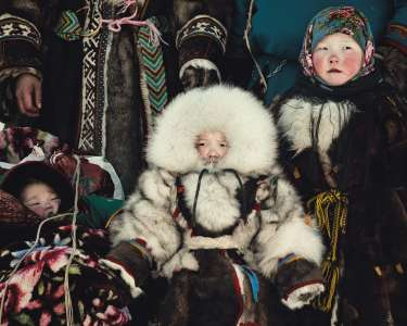 Nenet children, Brigade 2, Nenet Yamal Peninsula, Ural Mountains, Russia, 2011