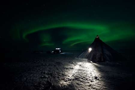 Northern Light at Ural Mountains
